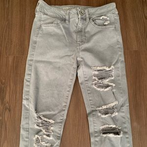 Grey Distressed American Eagle Hi-Rise Jeggings
